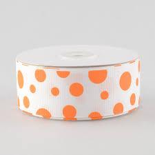 and white polka dot ribbon 1 5 grosgrain white ribbon polka dot print orange 25 yards