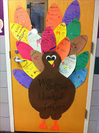our thankful turkey door each student decorates their feather with