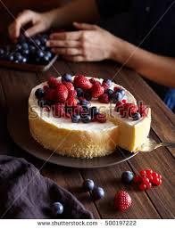 Cheesecake Decoration Fruit Close Up Creamy Mascarpone Cheese Cake Stock Photo 504239155