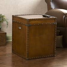 pillow arm leather sofa end tables designs harper blvd steamer walnut finish trunk end