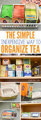 the simple inexpensive way organize tea not sure how sort those tea bags your cupboard here the simple