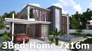 modern home plan sketchup modern home plan 7x16m