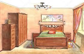 interior sketch design of bedroom watercolor sketching idea