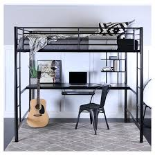 premium metal full size loft bed with wood workstation black