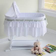 White Baby Cribs On Sale by Lamont Home Good Night Baby Short Skirt Bassinet 66 6