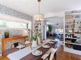 hgtv dining room home town from hgtv how pretty is that custom wallpaper i