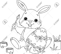coloring page of an easter bunny painting an egg royalty free