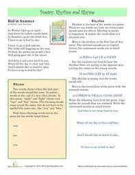preschool rhyme scheme worksheets poetry and classic poems sheet