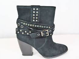 libby edelman crishka s black suede studded ankle boots size