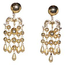 clip on chandelier earrings jose and barrera vintage gold plated chandelier clip