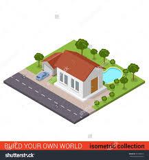 home design building blocks backyard pool stock vectors vector clip art shutterstock flat 3d