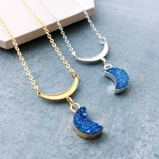 blue moon necklace images Blue moon druzy crescent moon necklace by eclectic eccentricity jpg