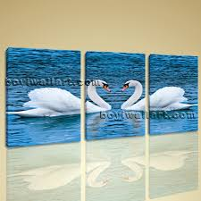 abstract canvas prints home decor wall art romantic lover white swans