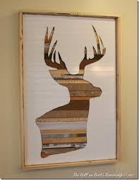deer wood wall diy rustic deer silhouette wall
