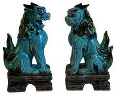 choo foo dogs large pair vintage turquoise blue foo dogs chinoiserie imperial