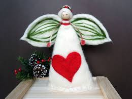 christmas angel tree topper needle felted angel big