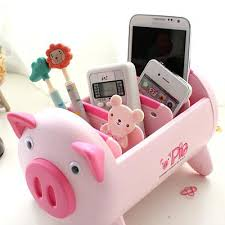Fashionable Desk Accessories Desk Accessories Creative Pink Black Pig Desk