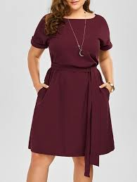 plus size belted knee length dress with pockets wine stitch and