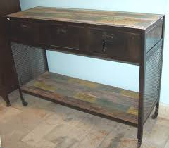industrial console table with drawers industrial wood metal 3 drawer console at bashford antiques