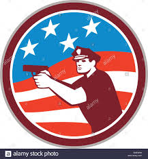 Flag Circle Policeman With Gun American Flag Circle Retro Stock Vector Art