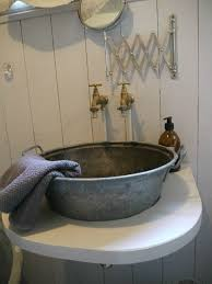 diy concrete sink galvanized wash tub bathroom pipe faucet rustic