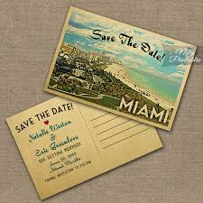Save The Date Postcards This Diy Vintage Travel Save The Date Postcard Features Miami
