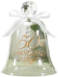 happy 50th anniversary bells glass ornament