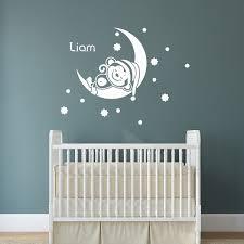 stickers chambre b b personnalis sticker prénom personnalisable singe sur la lune chambre enfants