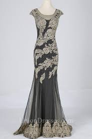 gorgeous mermaid illusion neckline charcoal grey tulle gold lace