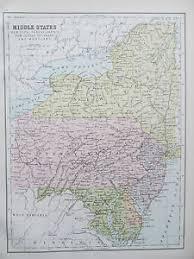us map middle states united states middle states antique map published c 1895 ebay