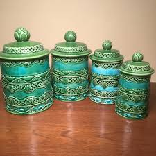 rare vintage lincoln beautyware ceramic kitchen canister set details these wonderfully colored ceramic kitchen canisters