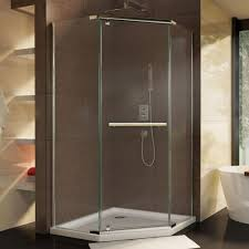 Angled Shower Doors Dreamline Prism 34 1 8 In X 72 In Semi Frameless Neo Angle Pivot