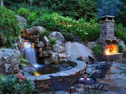 backyard waterfalls ideas christmas lights decoration