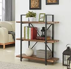 amazon com homissue 3 tier industrial bookcase and book shelves
