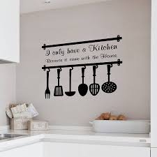 interior design beautiful kitchen design with wall quotes decals