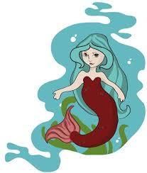cute cartoon mermaid brown hair stickers stickers clip