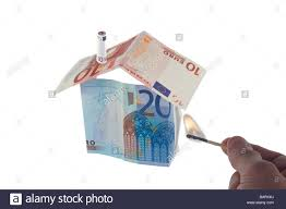 Euro House House Made Out Of Euro Bills Set On Fire Stock Photo Royalty Free