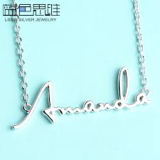 monogram necklaces blue sweet necklaces personalized custom diy name necklace