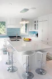 Blue Glass Kitchen Backsplash White Kitchen Cabinets With Blue Glass Tile Backsplash