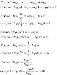 br che umformen logarithmus regeln