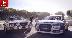 audi a1 wrc 2014 audi s1 rallycross vs 1985 s1 quattro with rally legend