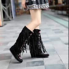 womens boots india the stylish tassel boots fringed flat heels