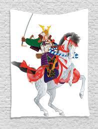 equine home decor japanese decor tapestry wall hanging samurai horse home decor ebay