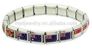 metal bracelet charms images Hand enameled brazil flag italian charms bracelet wholesale buy jpg