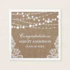 Custom Burlap Art Print Love - rustic bridal shower burlap string lights lace paper napkin