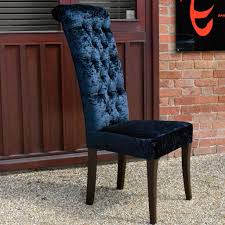 Slim Dining Chairs Bespoke Venice Roll Top High Back Slim Buttoned Dining Chair