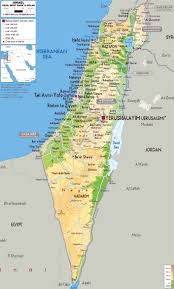Arizona Map Of Cities by Detailed Physical Map Of Israel With All Roads Cities And
