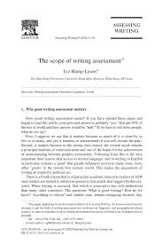 the scope of writing assessment pdf download available