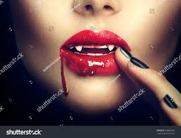 vampire woman lips blood fashion stock photo 328802885