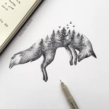 alfred basha u0027s pen u0026 ink sketches of trees growing into animals